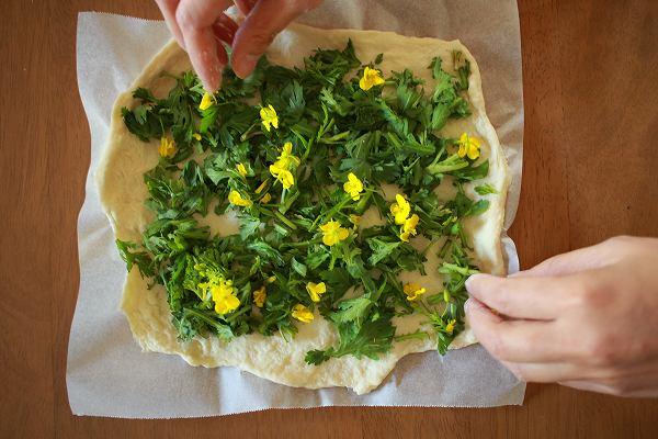 春菊とアスパラ菜