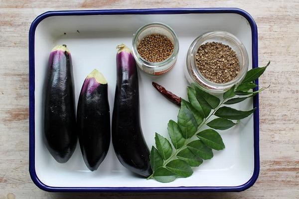 茄子のカレーリーフ炒め